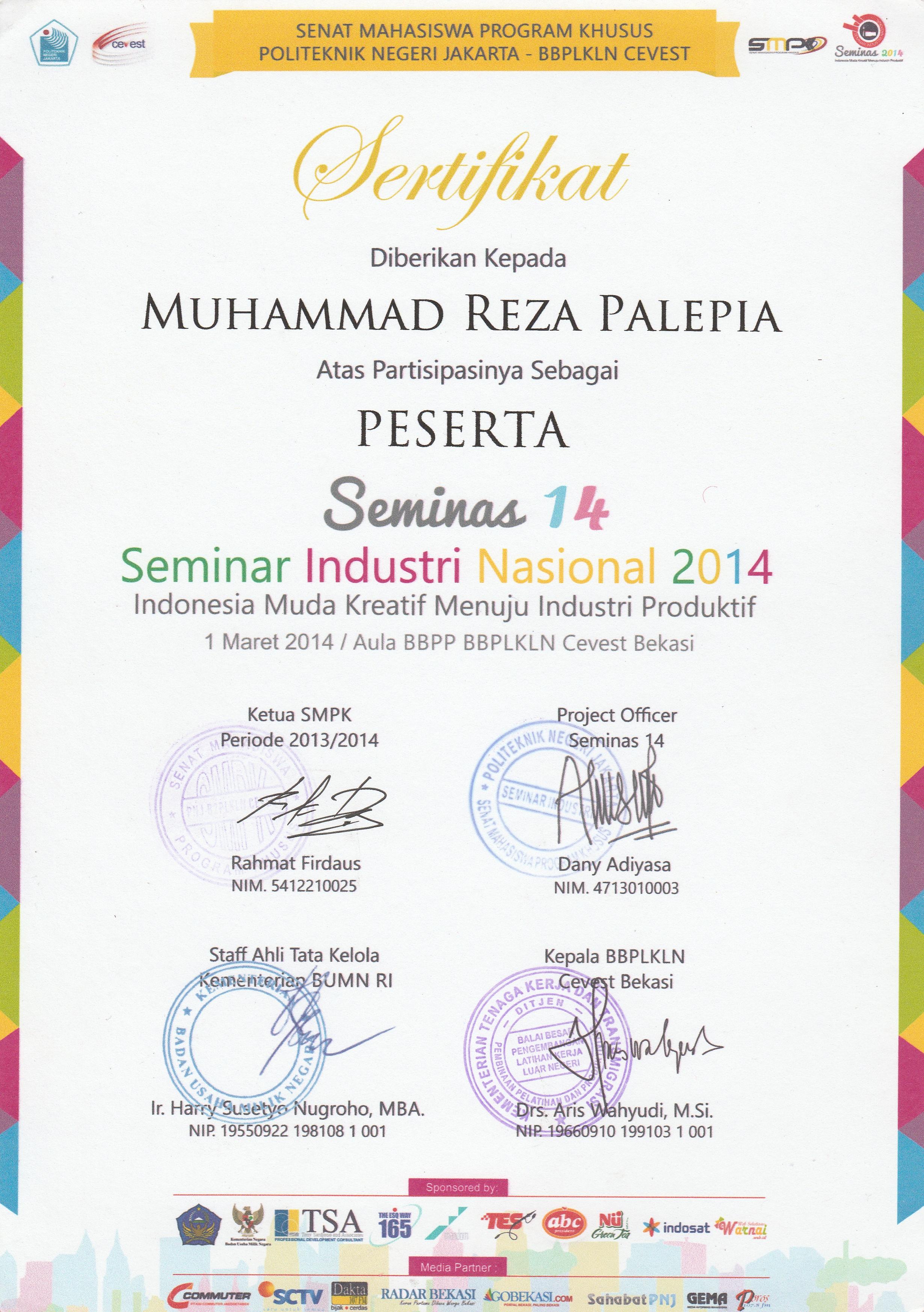 Sertifikat Muhammad Reza Palepia Mrpalepia